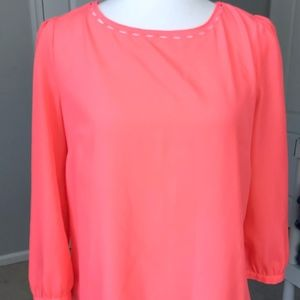 J.Crew Neon Orange Long Sleeve Blouse Shirt XS